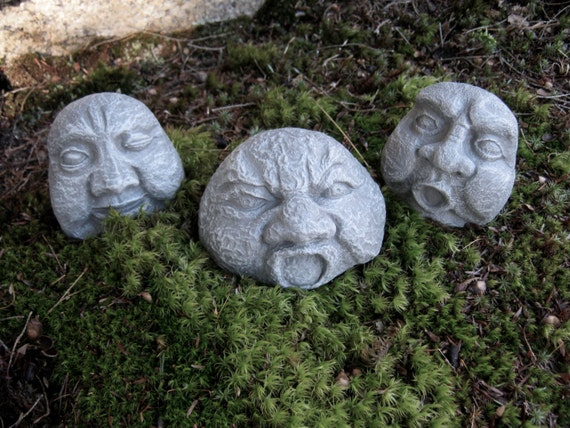Rock Faces Three Concrete Garden Rocks Garden Decor Pot
