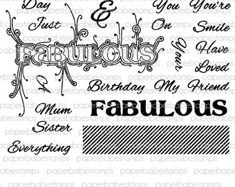Fabulous Everything Stamp Set - Paperbabe Stamps - Clear Photopolymer Stamps - For paper crafting and scrapbooking.
