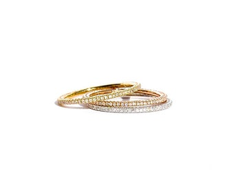 18k Micro Pave Diamond Eternity Stacking Band/ Ring Size 6 and 5