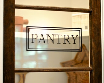 Pantry Vinyl Decal   Pantry Door Decal Glass Door Decal Vinyl Lettering  Rectangle Border Fame Decal