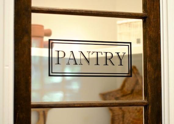 Pantry Vinyl Decal Pantry Door Decal Glass Door Decal Vinyl