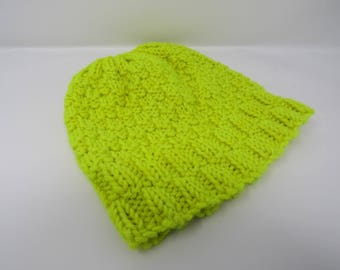 Handcrafted Knitted Hat Beanie Neon Yellow Merino Wool Cashmere Female Adult