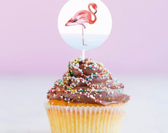 Printable Flamingo Stickers | Watercolor Flamingo | Instant Download PDF | Pink Flamingo Cupcake Toppers | Pink Flamingo Sticker
