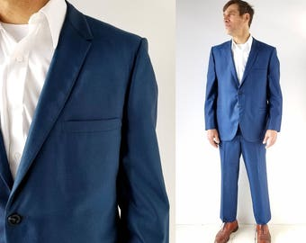1960s Men's Suit | Cobalt Blue | 60s Suit | Size 42 S