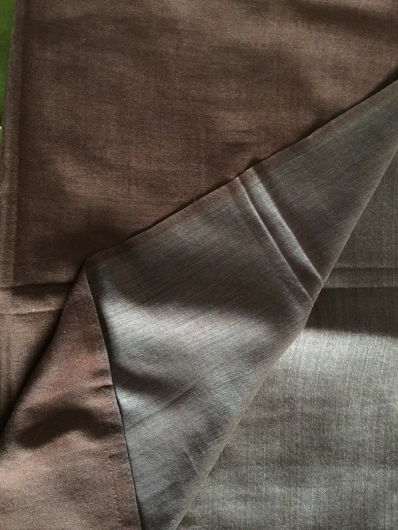 Pashmina Cashmere wool stole shawl wrap reversible double sided. Brown on one side beige on the other, Solid color wear it on either side