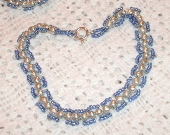 Blue and Silver Sead Bead Hand Woven Bracelet