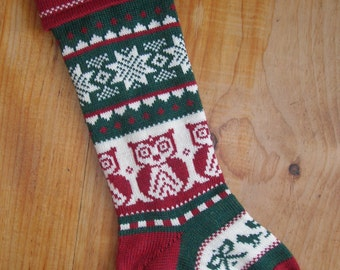 Personalized Christmas Stocking with an Owl
