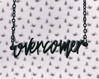 Overcomer Acrylic Laser-cut Typography Necklace