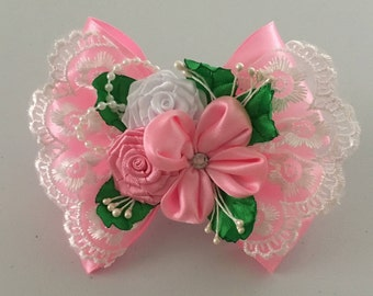Kanzashi Hair Tie,  Pink Rose Flower Hair tie, Elastic Bow