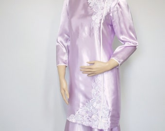 Dress Vintage Dress Lilac Two Piece Purple Tunic Dress Satiny Tunic Blouse Top Drop Waist Skirt Two Piece Separates Size Small