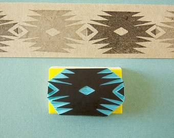 Southwestern Stamp, Tribal, Aztec, Hand Carved, Hipster Decor, Simmetrical design