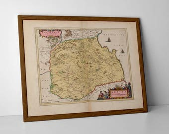 Old Map Berwickshire | Berwick Upon Tweed, Coldingham, Eyemouth, Foulden, Allanton, Chirnside, Fleurs, Hoome | Antique Berwickshire Map