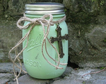 Scripture Jar, Pastel Green with Cross and Chalkboard Lid - Contains 50 Encouraging Bible Verses