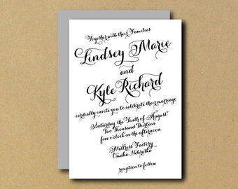 Printable Custom DIY Wedding Invitation - Slanted Romantic Chic Calligraphy