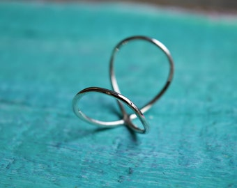 Silver infinity, double ring, knuckle ring, midi ring, ring set, twisted silver ring.