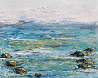 Beach Art, Pacific Ocean, Beach Decor, Half Moon Bay, Painting,Coastal Art, California Landscape, Coastal Decor, 8x10, California, Pescadero