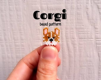 Corgi Dog Brick Stitch Bead Pattern