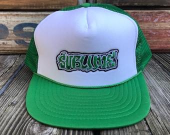 SUBLIME Deadstock Concert Patch Vintage 90s Green Mesh Snapback Trucker Hat
