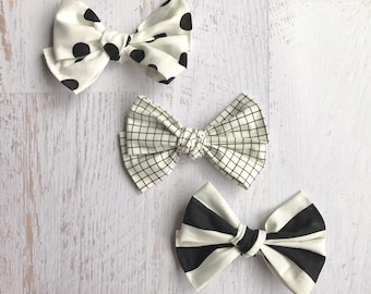 Fabric Bows | Polka Dot Bows | Grid Bows | Stripe Bows | Monochrome Bows | Black and White Bows | Baby Bows | Toddler Headbands | Hair Bow