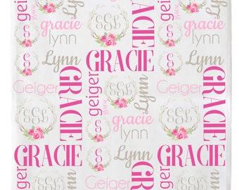 Baby Name Blanket, Personalized Baby Blanket, Swaddle Blanket, Receiving Blanket, Monogrammed Baby Blanket, Birth Announcement