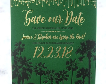 Starry California Night Letterpress & Gold Foil Save the Dates