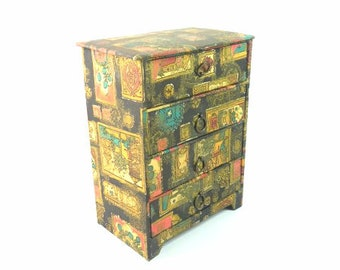 Big Vintage Black Red Fabric Jewelry Box Trinket Box Retro