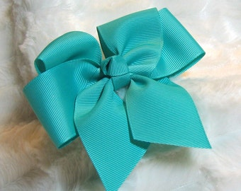 Hair Bow - Teal, Aqua Blue Solid Girls 4 inch Single Hair Bow With Your Choice of Clip