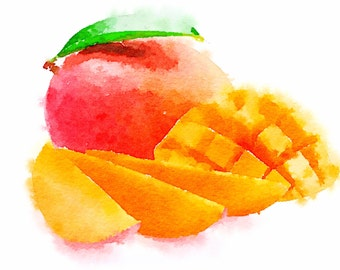 Watercolour alphabet flash cards. Fruits flashcards. ABC flash cards.