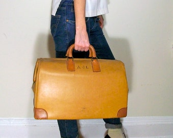 1950s monogrammed vinyl and leather doctor's bag / 50s large tan structured  doctor's case