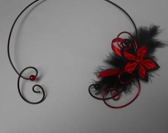 Red and black collar flower for bride