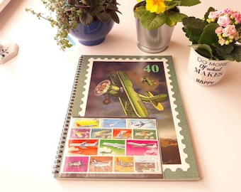 Stamp Collecting Album with 50 aviation stamps