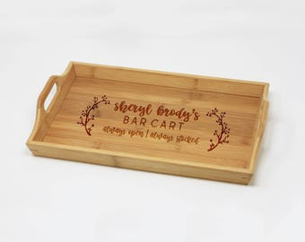 Bar Cart Tray, Personalized Serving Tray, Bamboo, Custom Engraved Wood Tray, Bar Tray, Housewarming, Home Decor, Home Bar --24703-TRA1-001