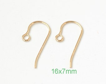 10 pairs 14K GF Micro EarWire 10 pcs, 16x7mm 24ga Gold Filled Earring hooks - USA made wholesale Jewelry  Supply(1863)