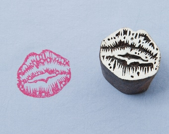 Wood block stamp, lips