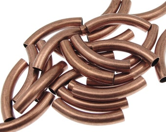 24 Noodle Beads 30mm x 5mm Antique Copper Plated Curved Tube Beads Dark Copper Tube Beads Copper Noodles (T5)