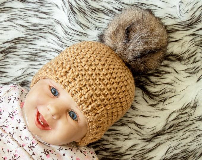 Crochet fur pom pom beanie - Gold Baby hat - Baby winter hat - baby gift - Baby hat - Crochet baby hat - Newborn baby hat - Faux fur pompom
