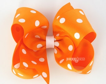 Girls Hair Bows - orange hair bow polka dot - 4 inch hair bows - big hair bows - boutique bows - large hair bows - girl hairbows - non slip