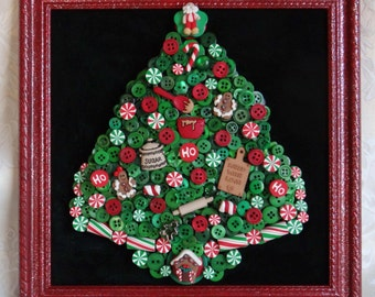 BUTTON CHRISTMAS TREE in frame! With Polymer Clay Focal and Christmas Buttons! Santa Claus! Gingerbread House! Christmas Candy! Ho! Ho! Ho!