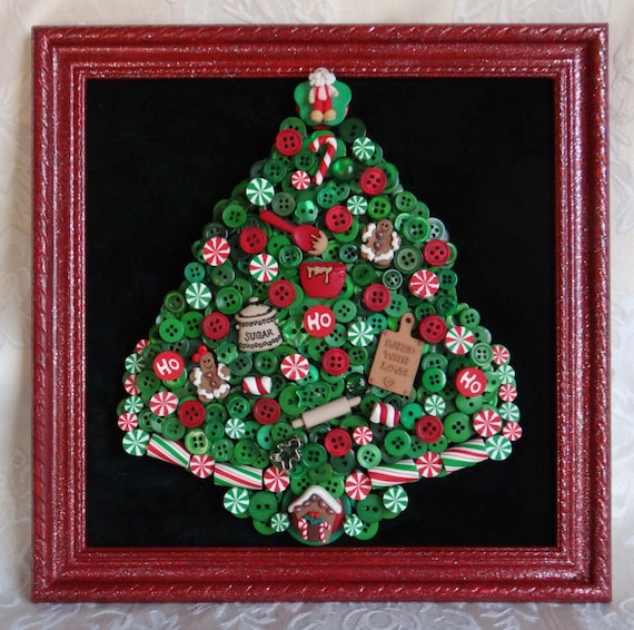 Button Christmas Trees: BUTTON CHRISTMAS TREE In Frame With Polymer Clay Focal And