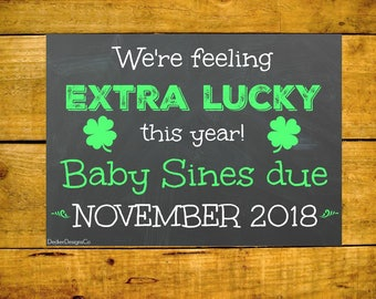 Pregnancy Reveal, Baby Announcement, St. Pattys Baby, Chalkboard Poster, Printable Pregnancy, Baby Reveal Sign, Announcement Card