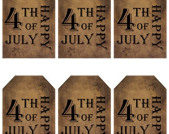 grungy tag set, primitive tags, craft supplies, scrapbooking - Happy 4th of July, outlined stars - digital PDF & jpeg - H4JGT04