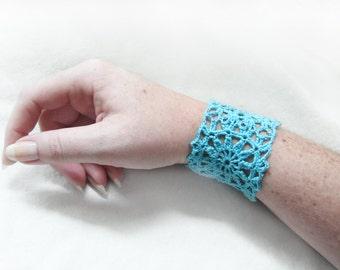 Aqua Lace Bracelet - Crochet Flower Motif - Blue Egyptian Cotton - Cuff Feminine Retro Granny Square Hippie Boho Spring