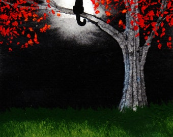 Black Cat  Folk Art print by Todd Young painting MOON LIGHT