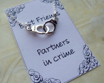 Partners in Crime Best Friends Charm Necklace, Partners in Crime Charm Necklace, Best Friends Necklace, Friends Necklace, Handcuffs Necklace
