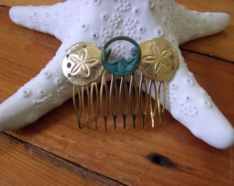 handmade mermaid hair comb with sand dollars