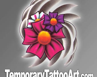 Flower temporary tattoo design - 2x3 inch