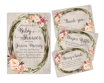 Floral baby shower invite Rustic Wreath baby shower invitation Printable wreath invite Rustic floral invite Boho baby shower Boho invite