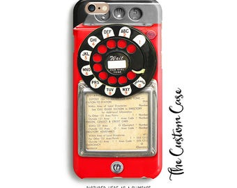 Retro Red Payphone, Vintage Payphone Phone Case, Retro Red Rotary Phone, Old Vintage Payphone, Hipster Payphone Case, Iphone, Samsung