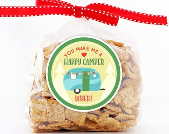 Personalized Stickers You Make Me A Happy Camper Valentine Party, Valentine Circle Stickers, Camping Party Favor, Valentine Circle Stickers