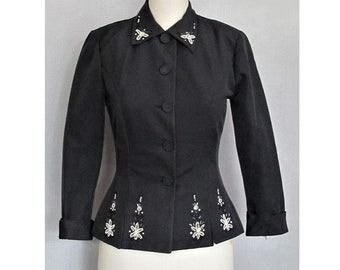 Vintage 1950s Cocktail Evening Jacket / Black with Beads / 50s Hourglass New Look / Party Prom Rockabilly Pin Up Viva Las Vegas / Small S